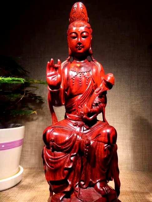 """小叶紫檀""""如意自在观音"""",仙作精工雕刻,独具品质,大师傅重工"""